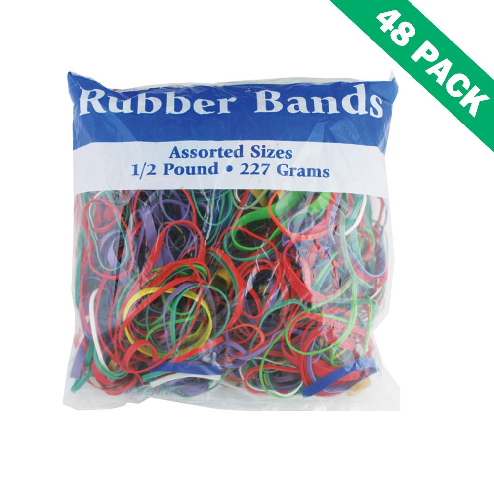 Colorful Rubber Bands, Assorted Sizes Colored Rubber Band Variety Pack 0.5 Lbs.