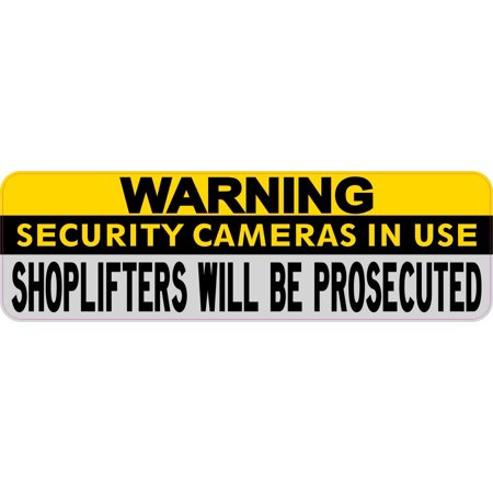 Security Warning Stickers - 10in × 3in Warning Security Cameras in Use Sticker Business Sign Stickers