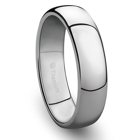 Mens Wedding Band in Titanium 6MM Ring Classic Style and Polished Finish