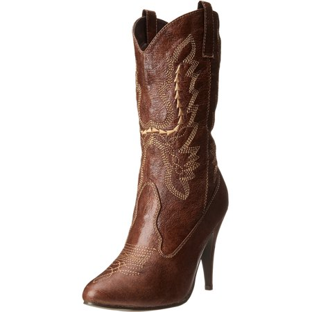 - 4 Inch Sexy Cowgirl Boots High Heel Mid Calf Boot