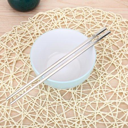 WALFRONT Solid Flat Stainless Steel Korean Chopsticks Set Tableware Dinnerware Gift Chopsticks Set,Solid Chopsticks - image 7 of 10