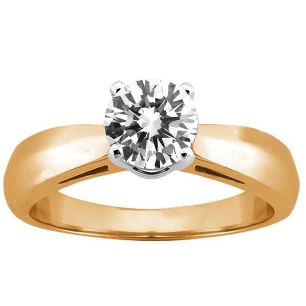 0.60 Ct Round H/I SI1/SI2 Diamond 14K Yellow Gold Ring