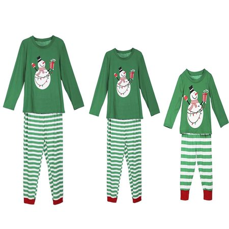 Family Pajamas Christmas Snowman Print Long Sleeve Round Neck Tops Long Pants Matching Sleepwear PJs - Costume Pjs