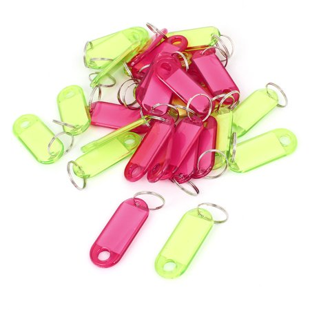 Unique Bargains 30 Pcs Plastic Oval Shape Key Room ID Name Label Keyring Green Red Clear