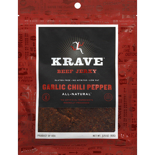 Krave Garlic Chili Pepper Beef Jerky, 3.25 oz, (Pack of 8)