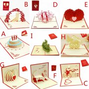 Fashion 3D Pop Up Greeting Card Love Romantic Birthday Valentines Day Gift