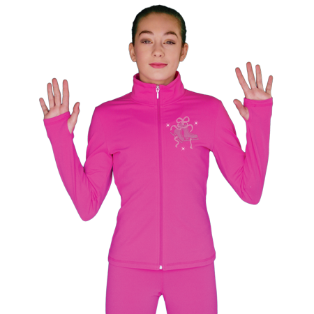 Chloe Noel JT811 Solid Fleece Fitted Elite Figure Skating Jacket w/ Mini Fuchsia Ribbon Crystals Combination ()