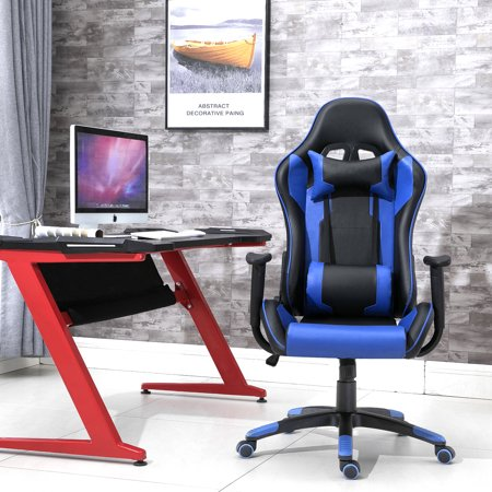Excellent Samincom Ergonomic High Back Large Size Gaming Office Chair Swivel Gaming Chair With Extra Soft Headrest Lumbar Cushion Black Blue Ibusinesslaw Wood Chair Design Ideas Ibusinesslaworg