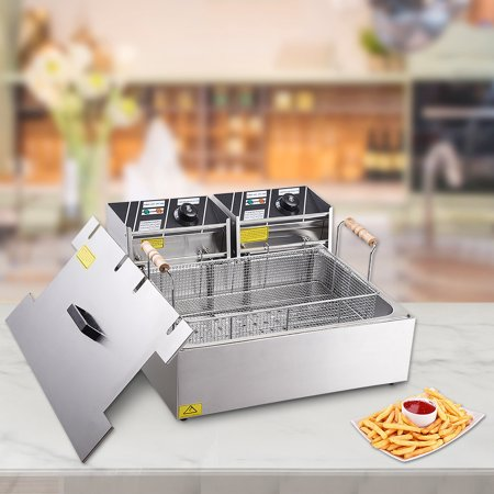 Yescom 20L 5000W Commercial Deep Fryer Large Tank Stainless Steel Single Basket Countertop Electric Machine