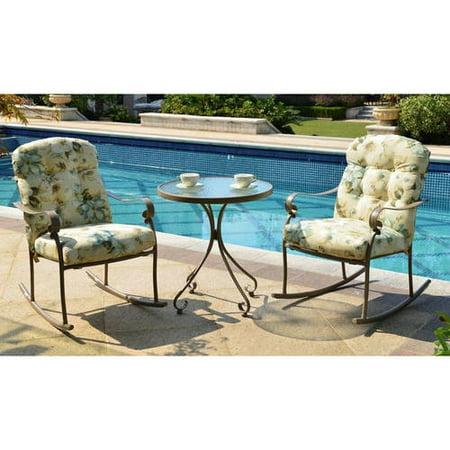 Mainstays Willow Springs 3-Piece Rocking Outdoor Bistro Set, Cream, Seats 2