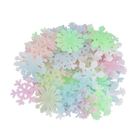 Glow In The Dark Snowflakes (Fashion Glow In The Dark Snowflake 50pcs Fluorescent Wall Stickers Decal Baby Kids Bedroom)