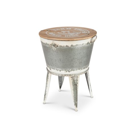 """25.6"""" Gray and Brown White Washed Galvanized Beverage Tub Stand with Lid"""