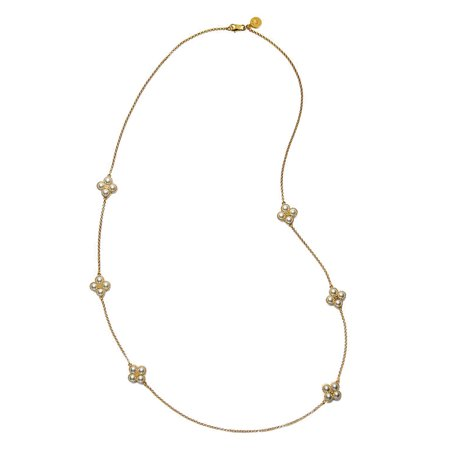 Tory Burch Gold Rope Lucky Clover Swarovski Pearl Rosary Necklace Lucky Designer Necklace