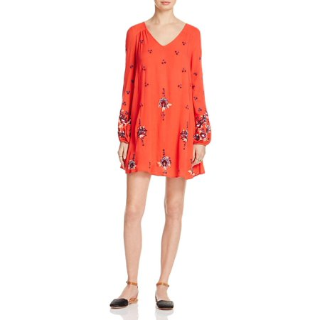 Free People Womens Embroidered Open Back Babydoll Dress