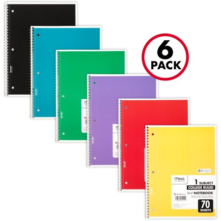 Mead Spiral 1 Subject College Ruled Notebook 6 Pack, Assorted Colors (73065) (Cheap Spiral Notebooks)