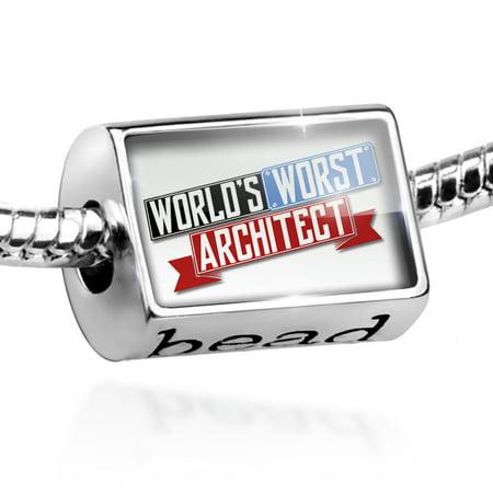 Bead Funny Worlds worst Architect Charm Fits All European Bracelets - Junior Architect
