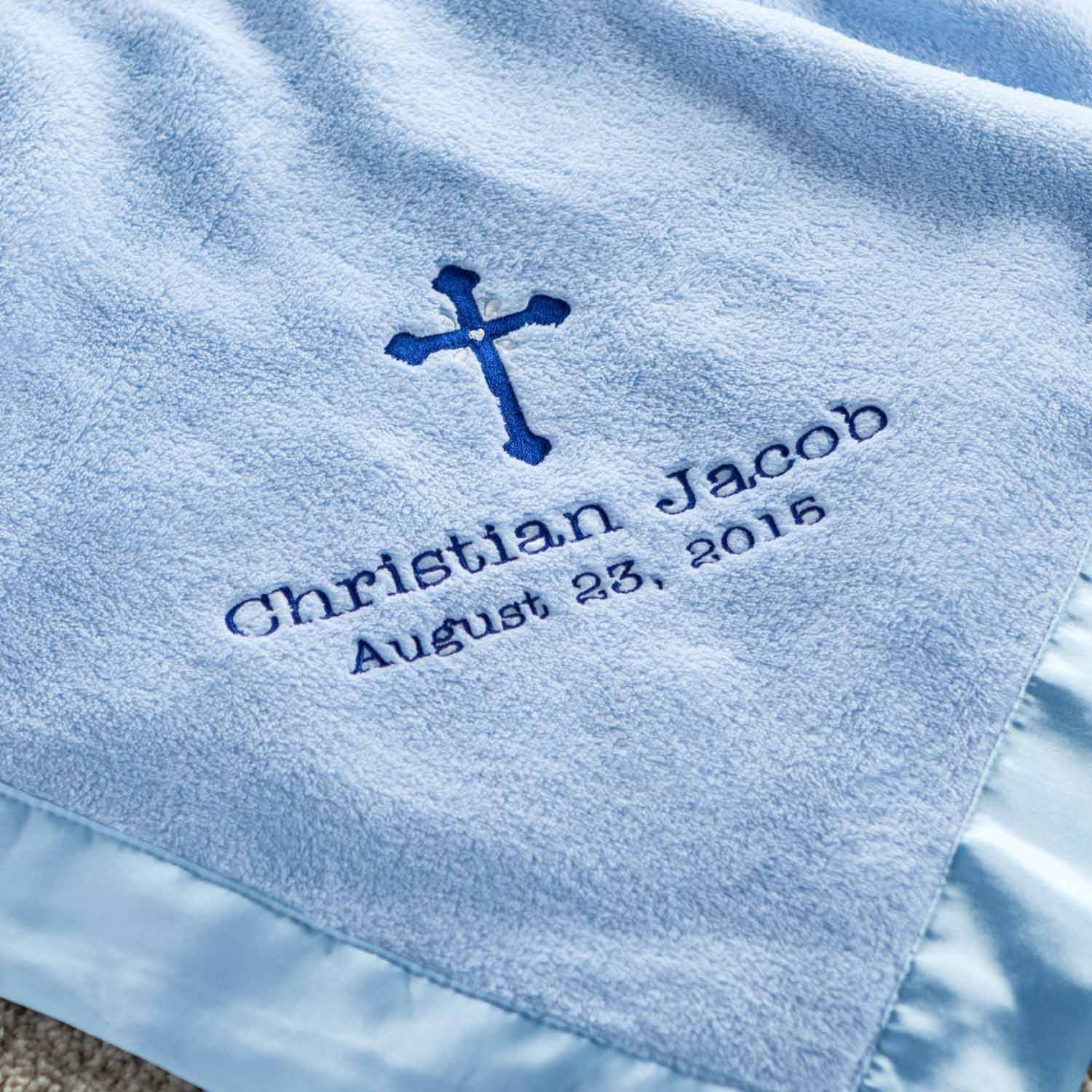 Personalized Precious Cross Blue Baby Blanket
