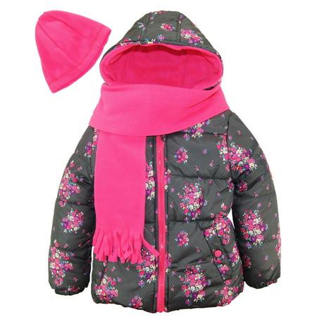 38755ec26 Pink Platinum - Pink Platinum Baby Girl Floral Print Bubble Winter ...