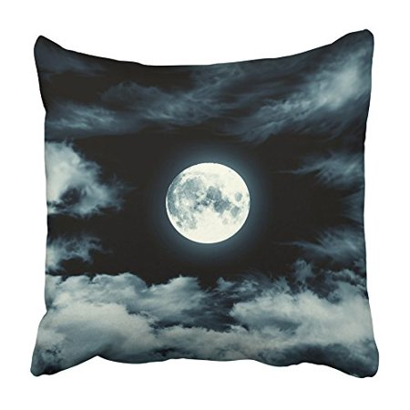 CMFUN Black Night Nightly Sky with Large Moon Blue Full Halloween Clouds Lunar Galaxy Pillowcase Cushion Cover 16x16 inch