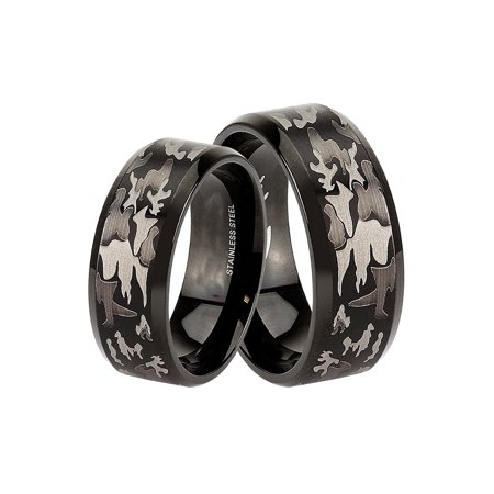 Camo Ring Set (Black Camo Wedding Ring Sets for Men Women Matching Bands for Him Size 14 and Her Size)