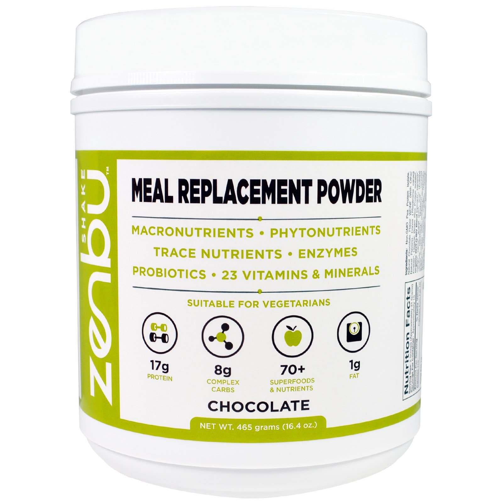 Madre Labs, Zenbu Shake, Meal Replacement Powder, With Prebiotics, Probiotics and Plant-Based Protein, Chocolate Flavor, 16.4 oz. (pack of 4)