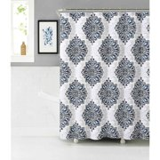 Home Tranquility Navy Blue White Fabric Shower Curtain: Floral Medallion Damask Design