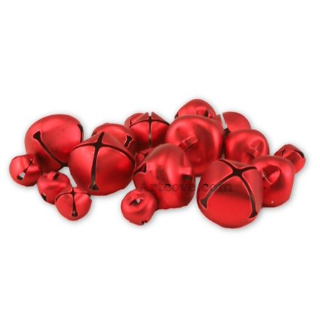 Red Jingle Small Bells Assorted Sizes 1/2, 3/4 and 1 inches 19 Pieces 1099-94 Red Jingle Bell