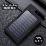 20000mAh Wireless Solar Power Bank 2 USB LED Portable Waterproof Battery Charger with Phone Holder Black