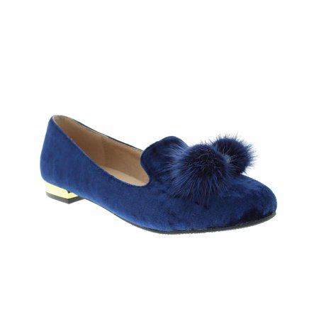 Moca Low Heel Slip-On Flats Women's Casual Faux Suede /w Genuine Mink Pom Pom Ball & Rhinestone Design Fury-01, Blue 8.5 F US ()