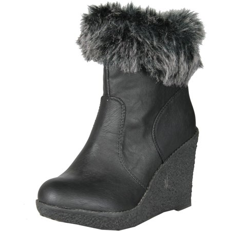 5f0be67d768 Enigma - Enigma Womens BC599 Wedge Boots with Fur Trim ...