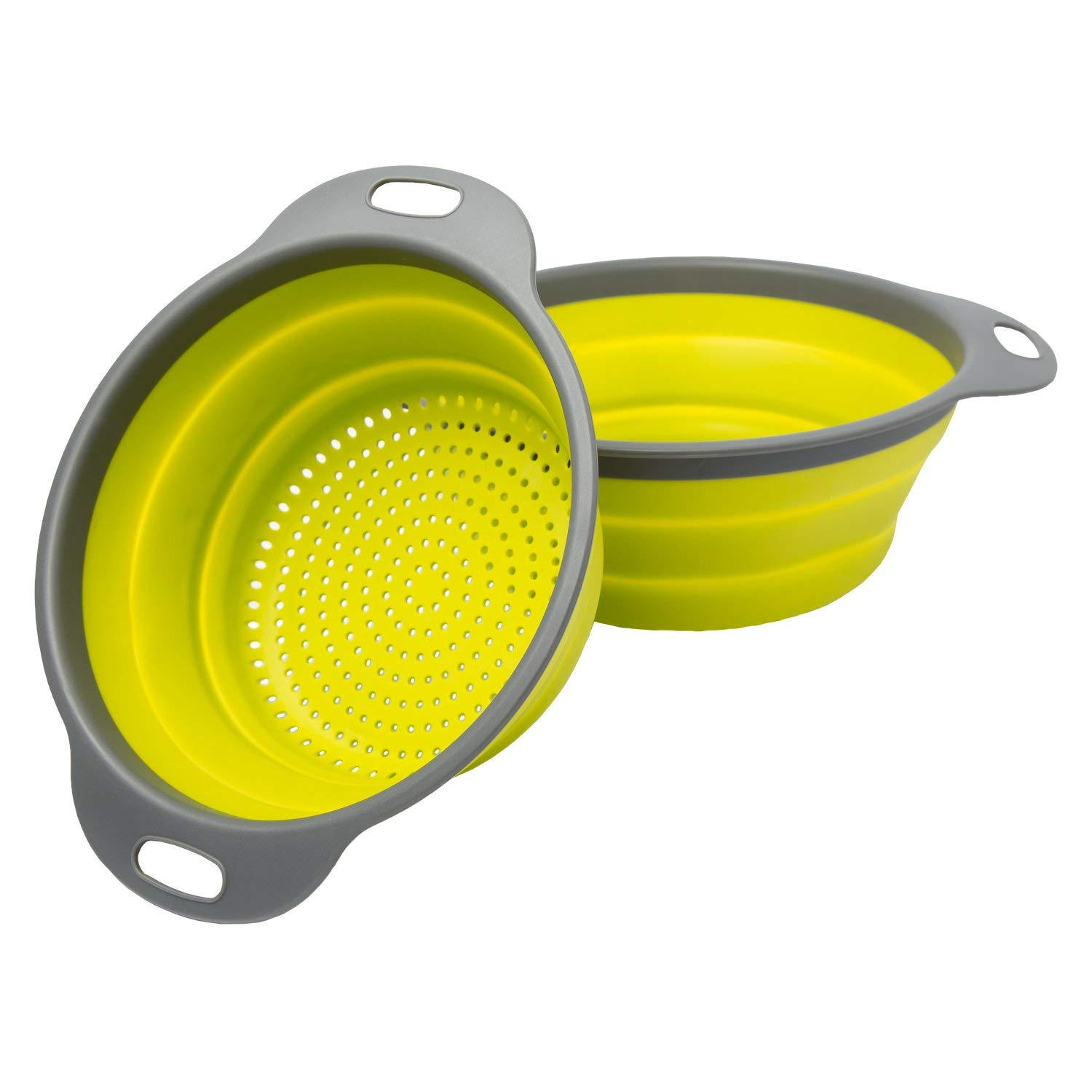 [Set of 2] Collapsible Kitchen Strainer (Colander) Set By Comfify – Includes Two Strainer Sizes: 8' and 9.5' - Blue and Gray