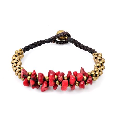 Surfer Inspired Red Coral & Brass Beads Cluster with Bell Toggle Bracelet