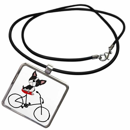 3dRose Funny Cute Boston Terrier Puppy Dog Riding Bicycle - Necklace with Pendant (ncl_260970_1)](Halloween Boston Bike Ride)