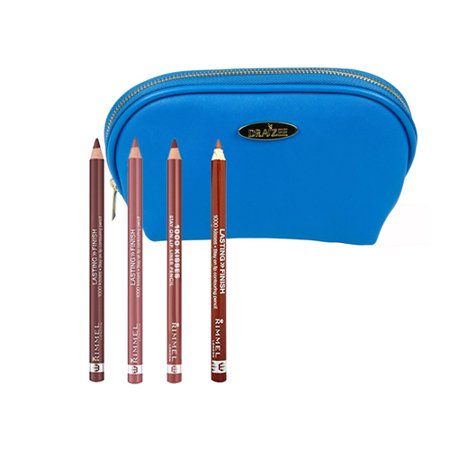 Rimmel 1000 Kisses Lip Liner Makeup Kit with Four 0.40 Oz Pencil Shades; Mauve Shimmer, Coffee Bean, Tiramisu and Cafe Au Lait-Zenzero with Dark Blue Draizee Leather Cosmetic Bag