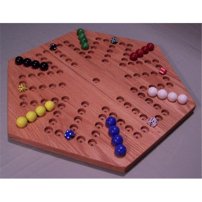 THE PUZZLE-MAN TOYS W-1928 Wooden Marble Game Board - Aggravation - 18 inch Hexagon - 6-Player  5-Hole - Red Oak