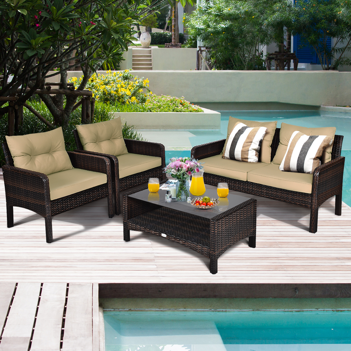 FANSI Rattan Garden Furniture Set 4 piece Patio Rattan furniture sofa Chair Weaving Wicker includes 2 Armchairs,1 Double seat Sofa and 1 table Outdoor Conservatory Indoor Brown 4pcs