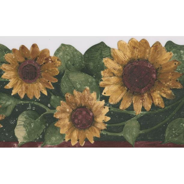 Wallpaper Border - Sunflower Floral Wall Border Flowers ...