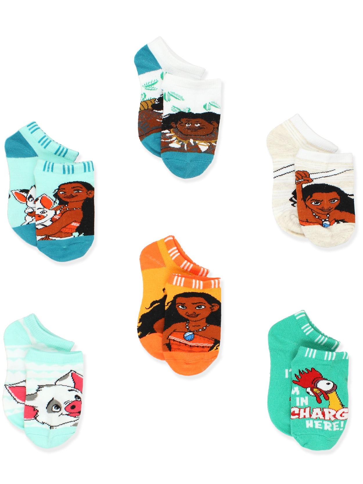 Disney Princess Moana Girl's Toddler Women's No Show 6 pack Socks Set OM017GNS
