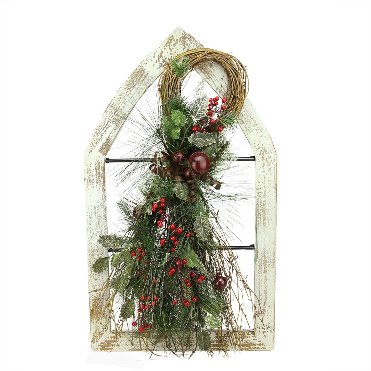 "29.5"" White Washed Window Frame with Mixed Pine & Berry Swag Christmas Wall Decoration"