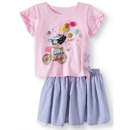 Side Ribbon Top & Reversible Skirt, 2pc Outfit Set (Toddler Girls)