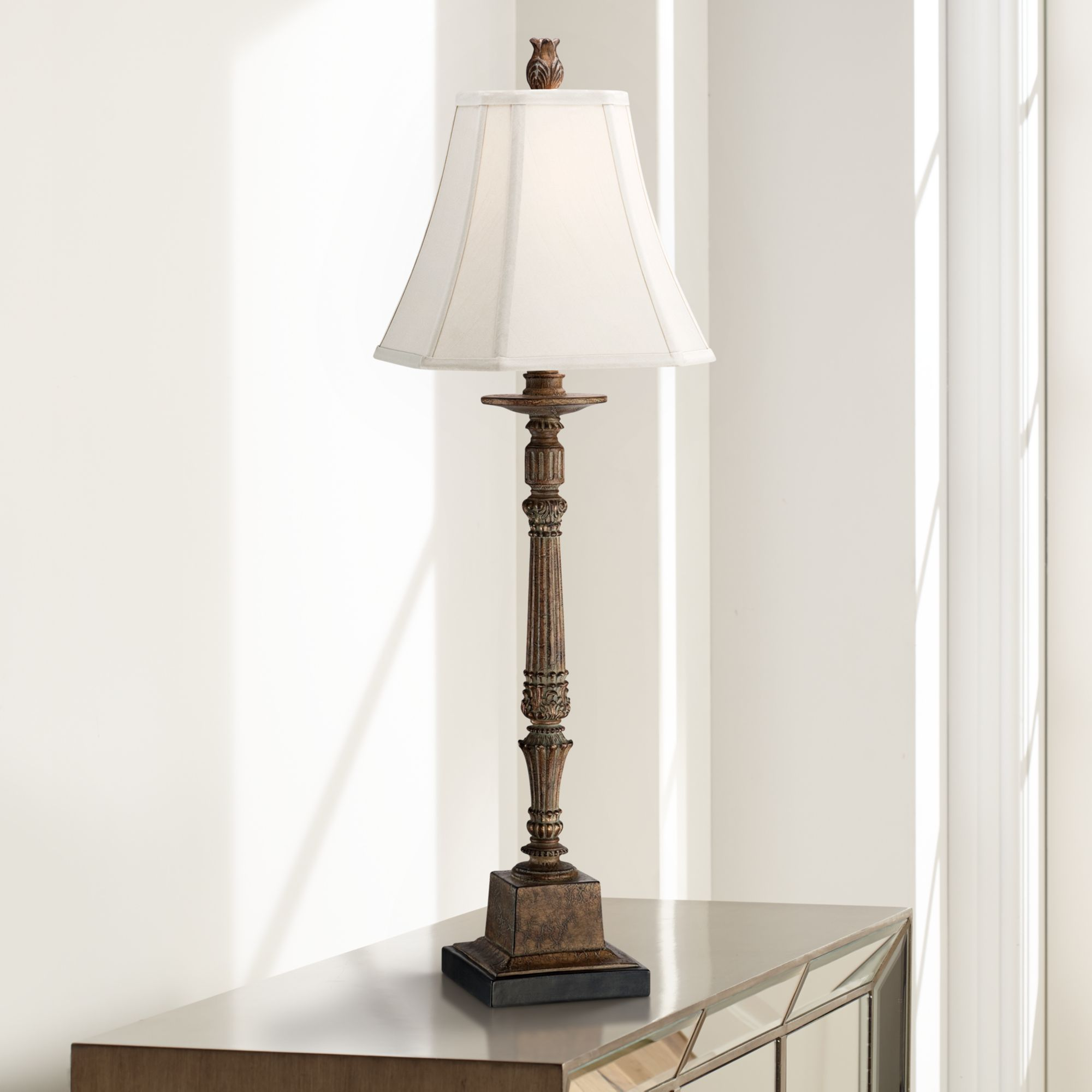 Regency Hill Traditional Console Table Lamp Crackled Brown Candlestick Square Bell Shade for Living Room Family Bedroom Bedside