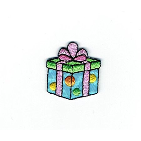 Bow Tie Applique - Gift/Present - Blue/Green - Pink Bow - Iron on Applique - Embroidered Patch