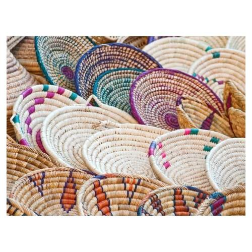 Hand Woven African Basket Kibbo Basket - Burnt Orange