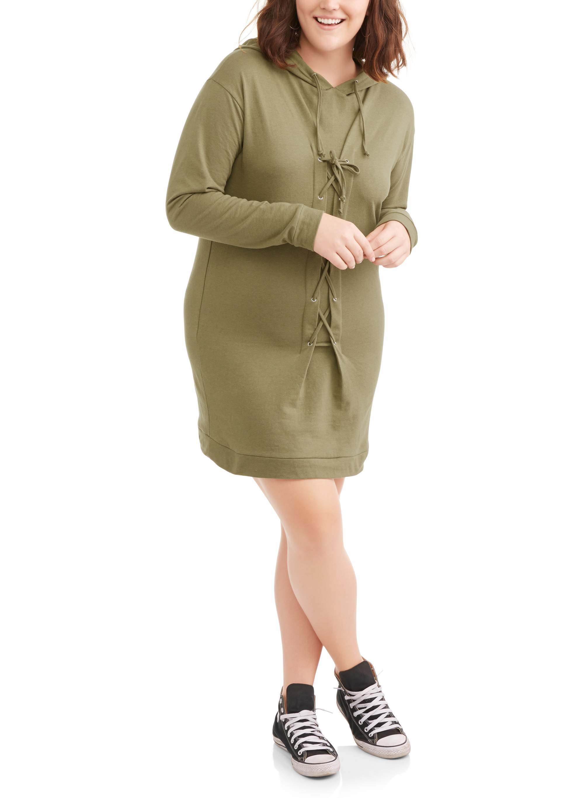 Juniors' Plus Size Long Sleeve Lace-Up Sweatshirt Dress