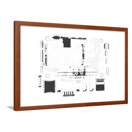 CPU Main Board 3D Rendered White Transparent Framed Print Wall Art By