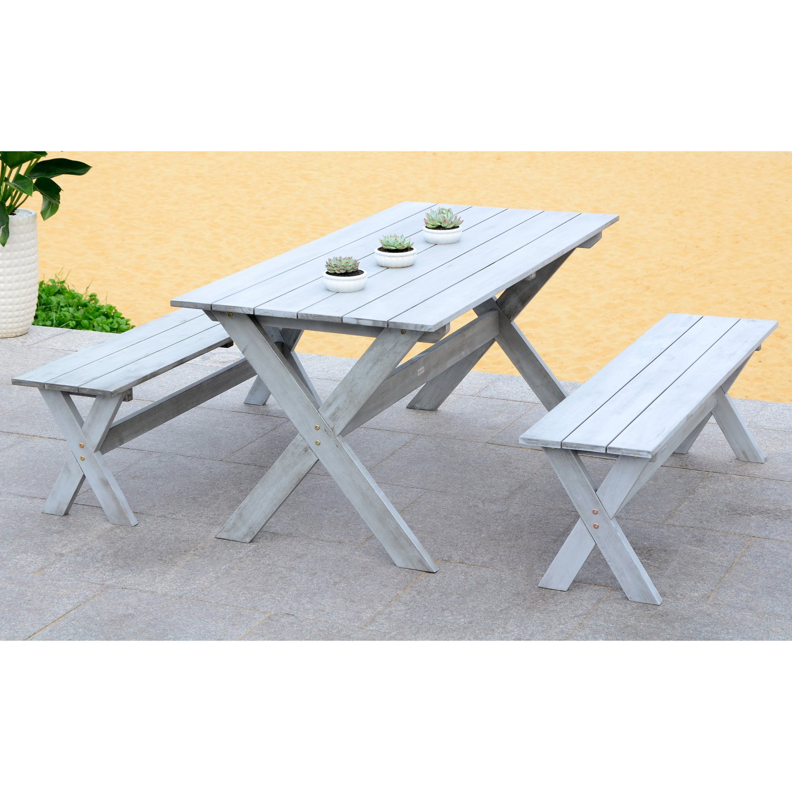 Safavieh Marina Outdoor Traditional 3 Piece Dining Set