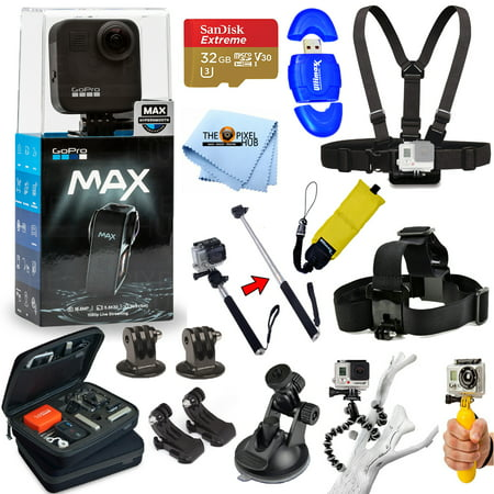 GoPro MAX 360 Action Camera All In 1 PRO ACCESSORY KIT with SanDisk 32GB, Chest and Head Strap, Monopod/Selfie Stick, Medium Case, Tripod and Much More