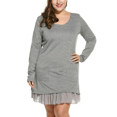 117e3ec34df3 Women Casual Plus Sizes Long Sleeve Chiffon Lining Ruffle Hem Short T-Shirt  Dress Caroj ...