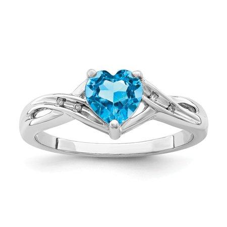Sterling Silver 2 MM Diamond Light Swiss Blue Topaz Heart Ring, Size 6