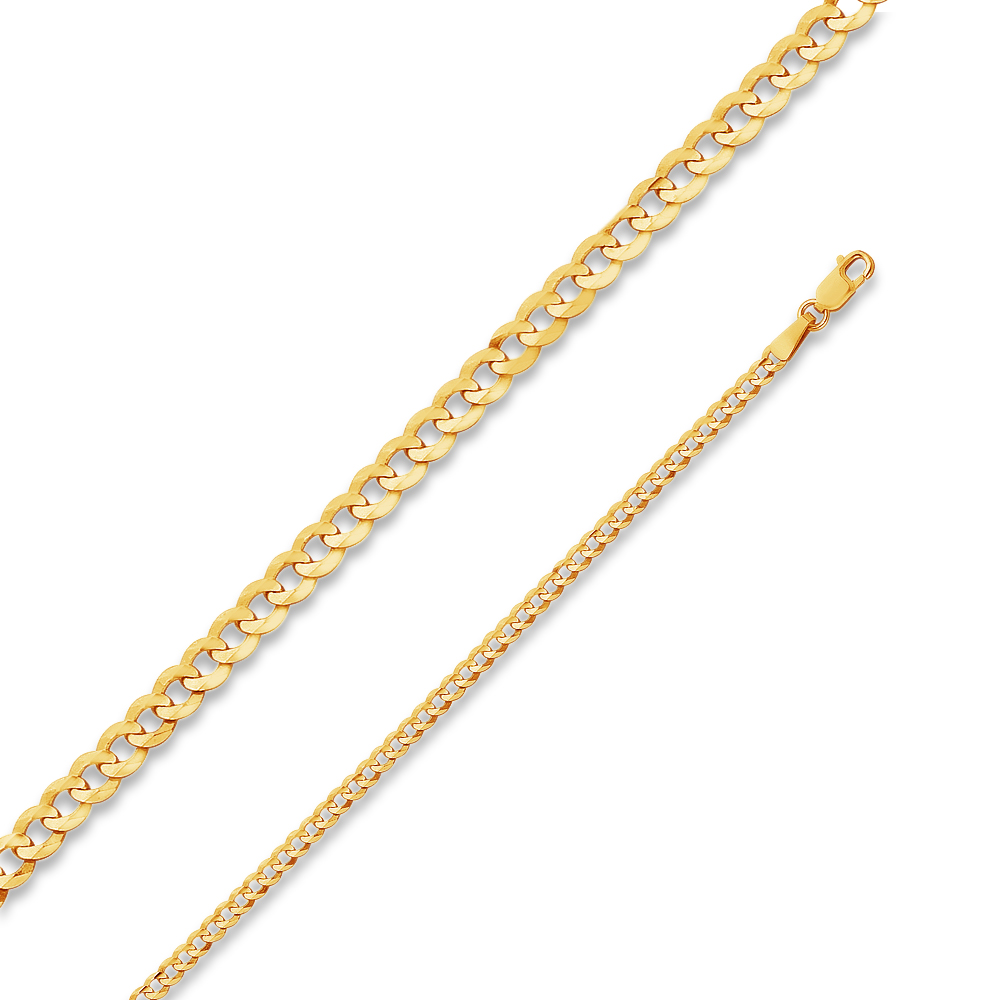 2.6mm 14k Gold Hollow Singapore Chain Necklace with Lobster Clasp